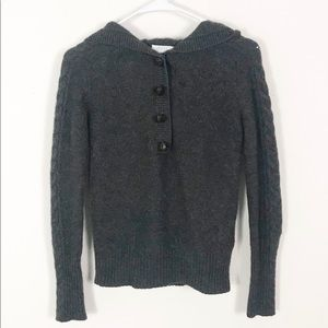 Malika Gray Cashmere Cable Knit Hoodie Sweater S